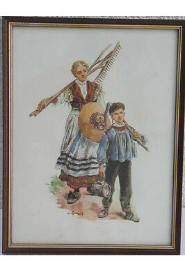 Bauersfrau mit Sohn - Elsässer Tracht
