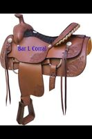 "Beautiful brand new 16"" billy Cooke roping saddle"