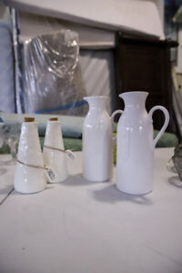 White Ceramic Pitchers and Dressing Bottle