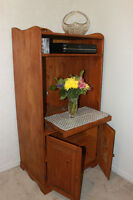 Walnut stained, clear pine wood cabinet