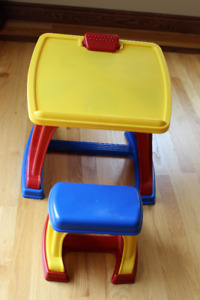 Kids Plastic Desk with Stool