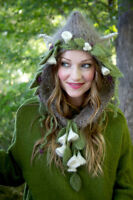 Grey Hood or Hat with Antlers