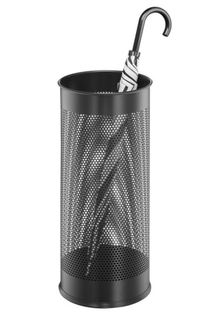 Durable 335001 Office/Home Metal Umbrella Stand, Round 28l, Metal, Black