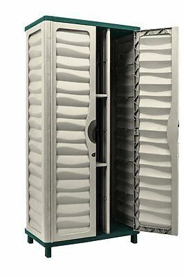 Outdoor Vertical Storage Shed Garden Cabinet Patio Tools Backyard Plastic Box
