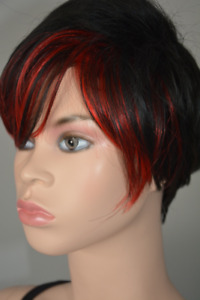 BRAND NEW: Deluxe Short Pixie Cut Black Red Highlighted Wig