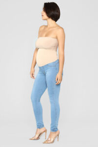 High Rise Skinny Maternity Jeans - Light Wash Size L Brand New