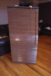 "2 x brown faux wood blinds (27"" x 60"")"