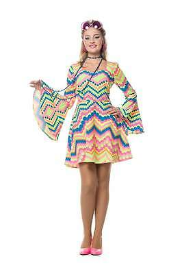70er 80er Jahre Kleid Kostüm Flowerpower Damen Hippie Hippy Hippiekostüm Party