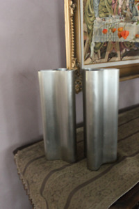 Pier One Brushed Metal Triangle Vases