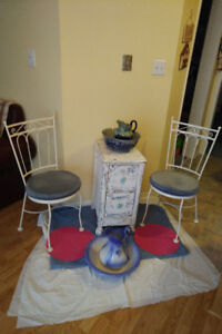2 PARLOUR CHAIRS/ANTIQUE CABINET+ JUG-Basin Sets *SEE EACH PRICE