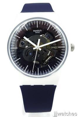 New Swiss Swatch Think Fun SILIBLUE Silicone Skeleton Watch 41 mm SUOW156 $85