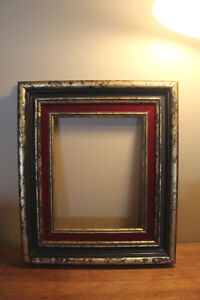 Old Wooden Picture Frame - Gold Marbled Design - Red Accents