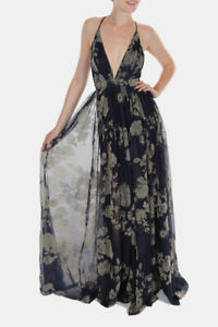 Blue Floral Luxxel Enchantress Gown