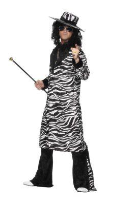 Zuhälter Kostüme (Pimp Daddy Kostüm zebra Prolet Party Zuhälter Kostüm)