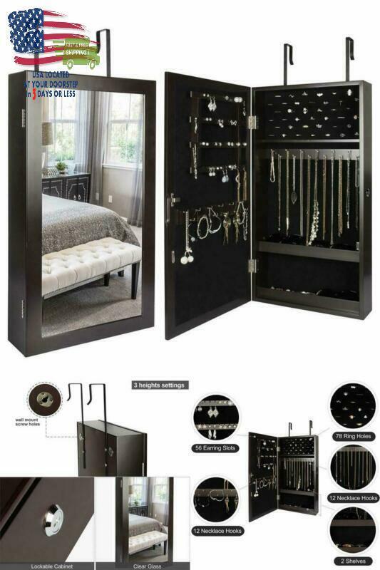 Mirrored Brown Jewelry Cabinet Armoire Storage Organizer Wal