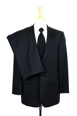 mens black STAFFORD SUIT blazer jacket pants wool two button classic M 40 R