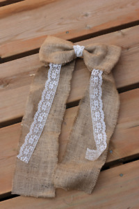 Bows- burlap with lace