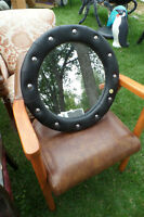 Studded Black Mirror with fake leather look - Brand New
