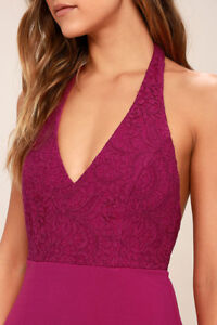 Fuchsia Halter Maxi Dress for Wedding or Prom WITH TAGS
