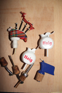 Lot of bottle pourers - Haig whisky and bagpipes