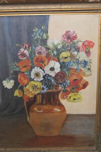 Old Antique Poppy Painting - Signed C.W. London Ontario image 2
