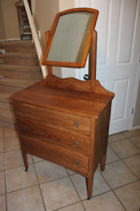 Antique Solid Pine 3 Drawer Vanity & Mirror ImmaculateCondition
