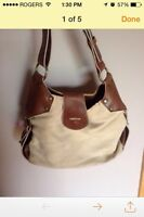 Matt and Nat brown leather/cream cloth purse