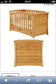 MAMAS AND PAPAS OCEAN COT BED AND CHANGING STORAGE