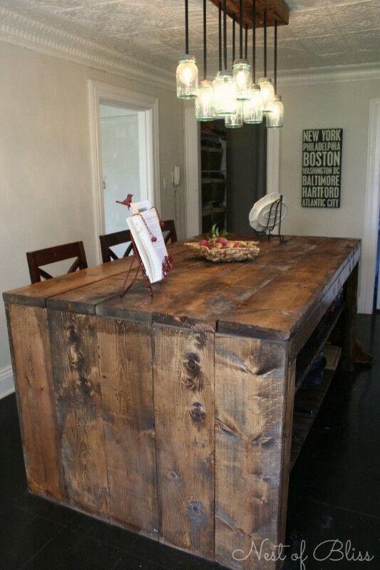 Ilot De Cuisine En Bois De Grange Sur Mesure Mobilier De