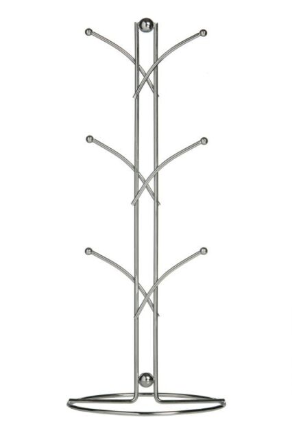 Premier Housewares 6-Cup Mug Tree - 39 cm, Chrome