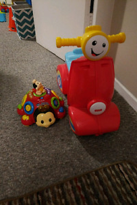 Ride on scooter and lady bug toy
