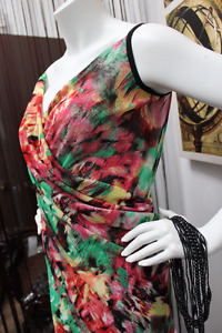 Beach Cover-Up Wrap Dress Green-Red multicoulor
