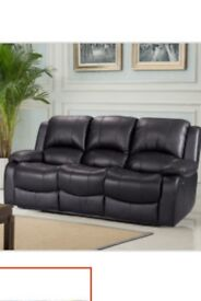 Black leather 3 seater with a reclining leather chair