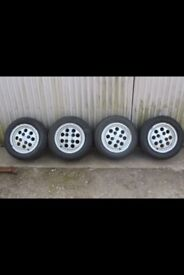 Classic ford fiesta xr2 pepper pot alloys 4x108 wheels all in used but good condition 4x wheels