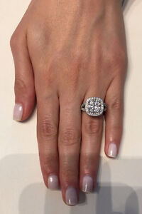 CERTIFIED 4.50CT GENUINE REAL D/SI1 DIAMOND HALO ENGAGEMENT RING