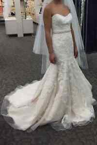 Once-worn champagne wedding gown with pearl beading, Size 2