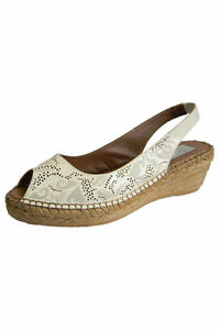 Laurevan Rocha Low Wedge Leather Bone colour sandals size 10H/41