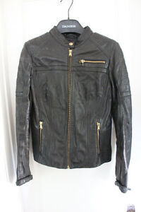 Black lamb leather jacket with gold accents