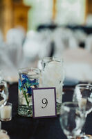 Centrepiece Decor Items (Vases, candles, white and blue orchids)