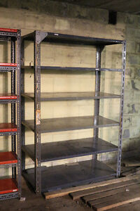 Two Solid Metal Heavy Duty Shelving Units