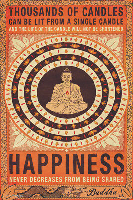 Thousands Of Candles Buddha Happiness Quote Life Motivational Poster   12X18