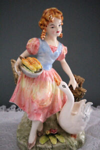 Vintage  Porcelain Young Maiden with Basket of Corn Figurine,