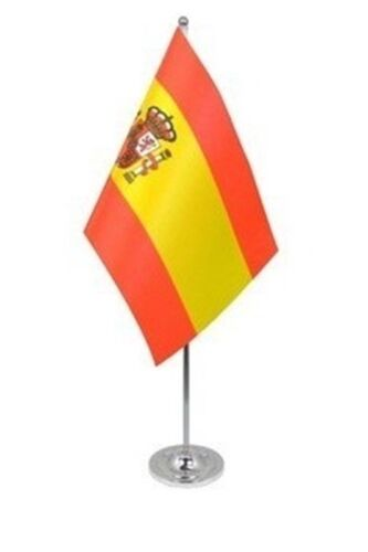 "SPAIN WITH CREST DELUXE SATIN TABLE FLAG 9""X6"" CHROME POLE & BASE SPANISH"