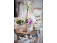 Large and medium size jars with hessian and lace used at our wedding, 24 in total