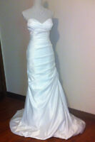 Sexy White Mermaid style satin gown, lace up back