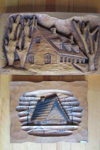 cadre en bois vintage  -chalet-