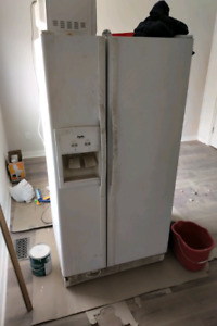 Double door side by side white fridge