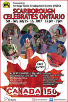 VOLUNTEERS WANTED URGENTLY FOR SCARBOROUGH CELEBRATES ONTARIO