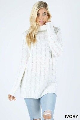 Ivory M Women's Cable Knit Pullover Sweater Turtle Neck Long Tunic Loose Casual