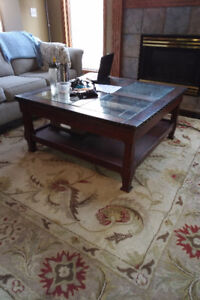 Mission Style Glass and Leather Top Coffee Table